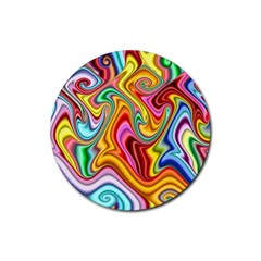 Rainbow Gnarls Rubber Coaster (round)  by WolfepawFractals
