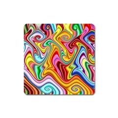 Rainbow Gnarls Square Magnet by WolfepawFractals