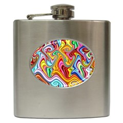 Rainbow Gnarls Hip Flask (6 Oz) by WolfepawFractals