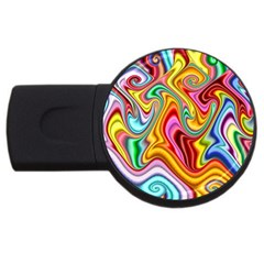 Rainbow Gnarls Usb Flash Drive Round (2 Gb) by WolfepawFractals