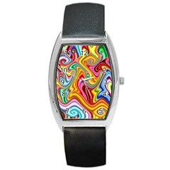 Rainbow Gnarls Barrel Style Metal Watch by WolfepawFractals