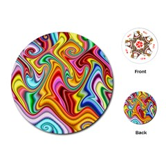 Rainbow Gnarls Playing Cards (round)  by WolfepawFractals