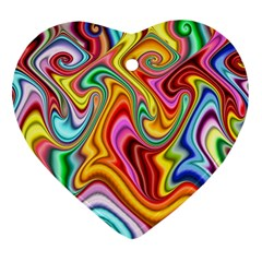 Rainbow Gnarls Heart Ornament (two Sides) by WolfepawFractals