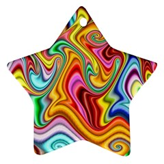 Rainbow Gnarls Star Ornament (two Sides) by WolfepawFractals
