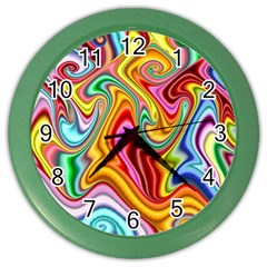 Rainbow Gnarls Color Wall Clocks by WolfepawFractals