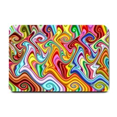 Rainbow Gnarls Small Doormat  by WolfepawFractals