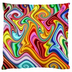 Rainbow Gnarls Large Cushion Case (two Sides) by WolfepawFractals