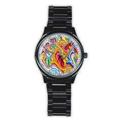 Rainbow Gnarls Stainless Steel Round Watch by WolfepawFractals