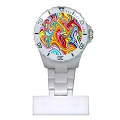 Rainbow Gnarls Plastic Nurses Watch by WolfepawFractals