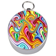 Rainbow Gnarls Silver Compasses by WolfepawFractals