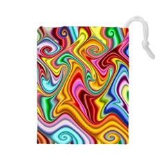 Rainbow Gnarls Drawstring Pouches (large)  by WolfepawFractals