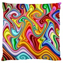 Rainbow Gnarls Large Flano Cushion Case (two Sides) by WolfepawFractals