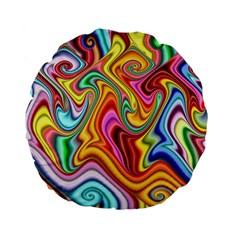 Rainbow Gnarls Standard 15  Premium Flano Round Cushions by WolfepawFractals