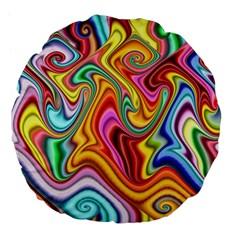 Rainbow Gnarls Large 18  Premium Flano Round Cushions by WolfepawFractals