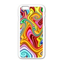 Rainbow Gnarls Apple Iphone 6/6s White Enamel Case by WolfepawFractals