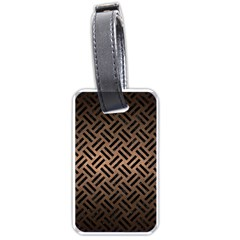 Woven2 Black Marble & Bronze Metal (r) Luggage Tag (one Side) by trendistuff