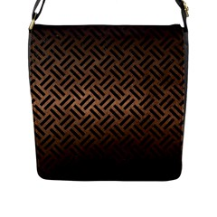 Woven2 Black Marble & Bronze Metal (r) Flap Closure Messenger Bag (l) by trendistuff