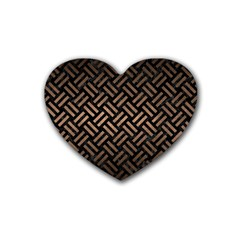 Woven2 Black Marble & Bronze Metal Rubber Heart Coaster (4 Pack) by trendistuff