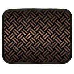 Woven2 Black Marble & Bronze Metal Netbook Case (xl) by trendistuff
