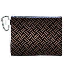 Woven2 Black Marble & Bronze Metal Canvas Cosmetic Bag (xl) by trendistuff