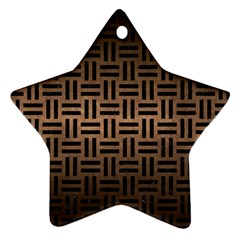Woven1 Black Marble & Bronze Metal (r) Star Ornament (two Sides) by trendistuff