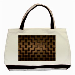 Woven1 Black Marble & Bronze Metal (r) Basic Tote Bag (two Sides) by trendistuff