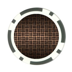 Woven1 Black Marble & Bronze Metal (r) Poker Chip Card Guard by trendistuff