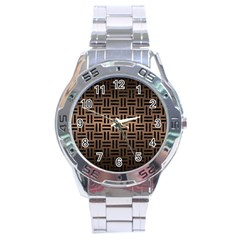 Woven1 Black Marble & Bronze Metal (r) Stainless Steel Analogue Watch by trendistuff