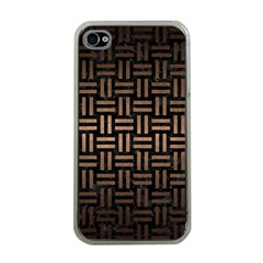 Woven1 Black Marble & Bronze Metal Apple Iphone 4 Case (clear) by trendistuff