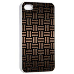 Woven1 Black Marble & Bronze Metal Apple Iphone 4/4s Seamless Case (white) by trendistuff