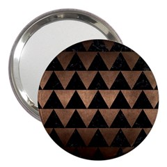 Triangle2 Black Marble & Bronze Metal 3  Handbag Mirror by trendistuff
