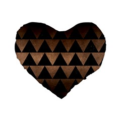 Triangle2 Black Marble & Bronze Metal Standard 16  Premium Flano Heart Shape Cushion  by trendistuff