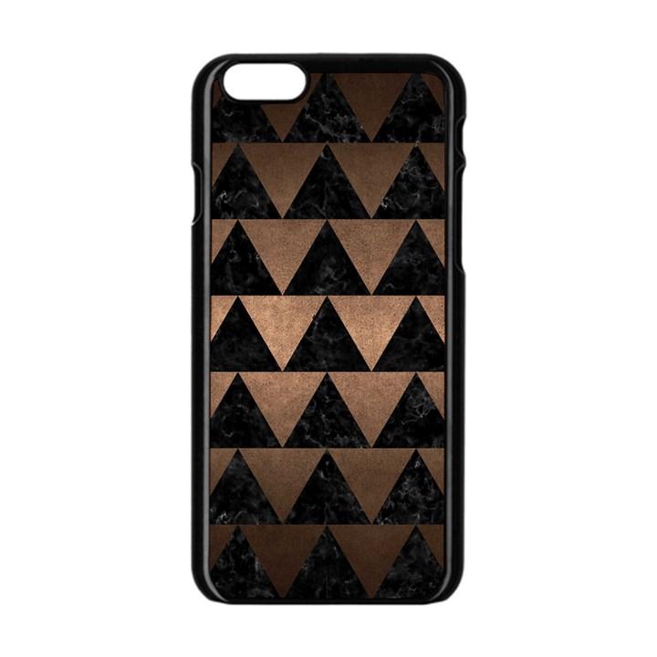 TRIANGLE2 BLACK MARBLE & BRONZE METAL Apple iPhone 6/6S Black Enamel Case