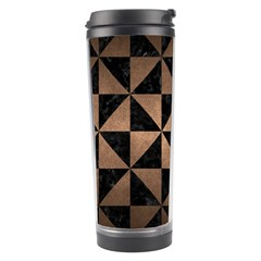 Triangle1 Black Marble & Bronze Metal Travel Tumbler by trendistuff