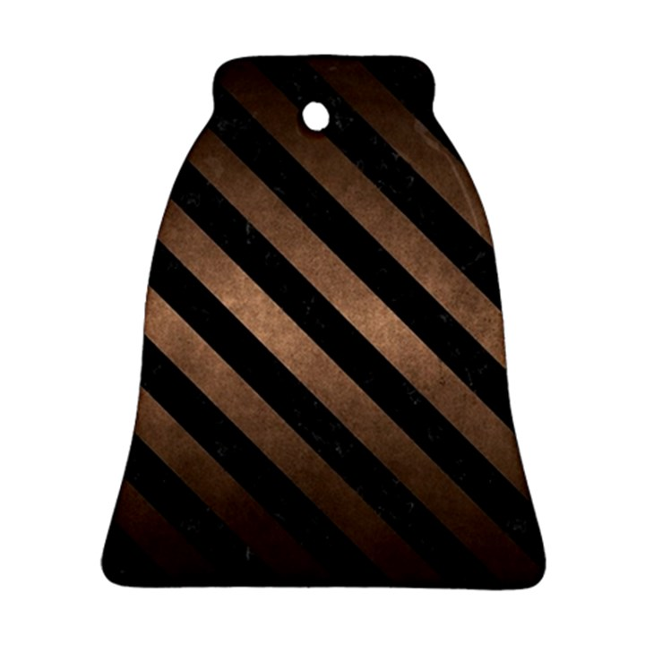 STRIPES3 BLACK MARBLE & BRONZE METAL (R) Bell Ornament (Two Sides)