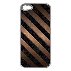 Stripes3 Black Marble & Bronze Metal (r) Apple Iphone 5 Case (silver) by trendistuff