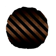 Stripes3 Black Marble & Bronze Metal (r) Standard 15  Premium Flano Round Cushion  by trendistuff