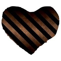 Stripes3 Black Marble & Bronze Metal (r) Large 19  Premium Flano Heart Shape Cushion by trendistuff