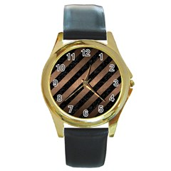 Stripes3 Black Marble & Bronze Metal Round Gold Metal Watch by trendistuff