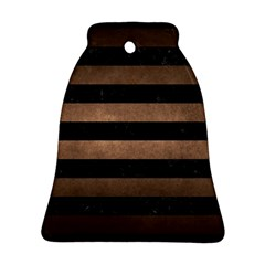 Stripes2 Black Marble & Bronze Metal Bell Ornament (two Sides) by trendistuff