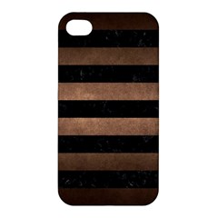 Stripes2 Black Marble & Bronze Metal Apple Iphone 4/4s Hardshell Case by trendistuff