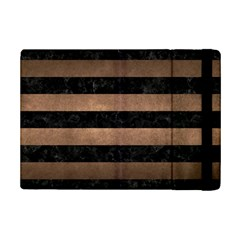 Stripes2 Black Marble & Bronze Metal Apple Ipad Mini 2 Flip Case by trendistuff