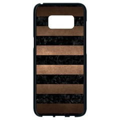 Stripes2 Black Marble & Bronze Metal Samsung Galaxy S8 Black Seamless Case