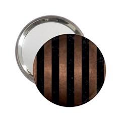 Stripes1 Black Marble & Bronze Metal 2 25  Handbag Mirror by trendistuff