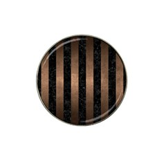 Stripes1 Black Marble & Bronze Metal Hat Clip Ball Marker by trendistuff