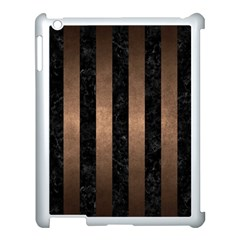 Stripes1 Black Marble & Bronze Metal Apple Ipad 3/4 Case (white) by trendistuff