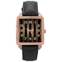 Stripes1 Black Marble & Bronze Metal Rose Gold Leather Watch  by trendistuff