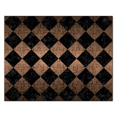 Square2 Black Marble & Bronze Metal Jigsaw Puzzle (rectangular) by trendistuff