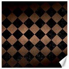 Square2 Black Marble & Bronze Metal Canvas 12  X 12  by trendistuff