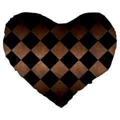 Square2 Black Marble & Bronze Metal Large 19  Premium Flano Heart Shape Cushion by trendistuff